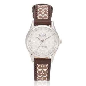 Coach Signature Logo Leather Strap Women's Watch